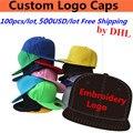 Wholesale 100PCS/LOT 500USD Custom Embroidery Print Logo Snapback Baseball Caps Golf Bucket Hats for Adult Kids Men Women