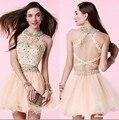 De lujo en Una Línea de Vestidos de Coctel 2016 O Cuello de Dos Piezas Vestidos de Partido de tarde Elegante Del Cordón Vestidos de Baile Vestido De Festa Curto