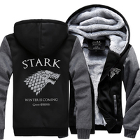 2018 Winter Fleece Thicken Sweatshirt Men Brand High Quality Jackets Coat Men's Sweatshirt Game of Thrones House Stark Hot Hoody