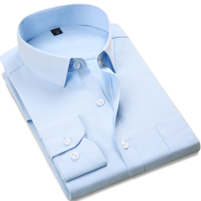 2016 Men's Wedding Shirt Long Sleeve Men Dress Shirt Business Solid Color Casual Shirts Work Wear Formal Slim Shirt Man