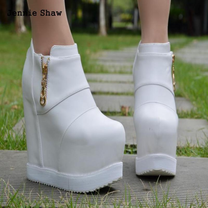 Hidden High Heel Elegant Martin Boots Women Platform Naked Ankle Shoes