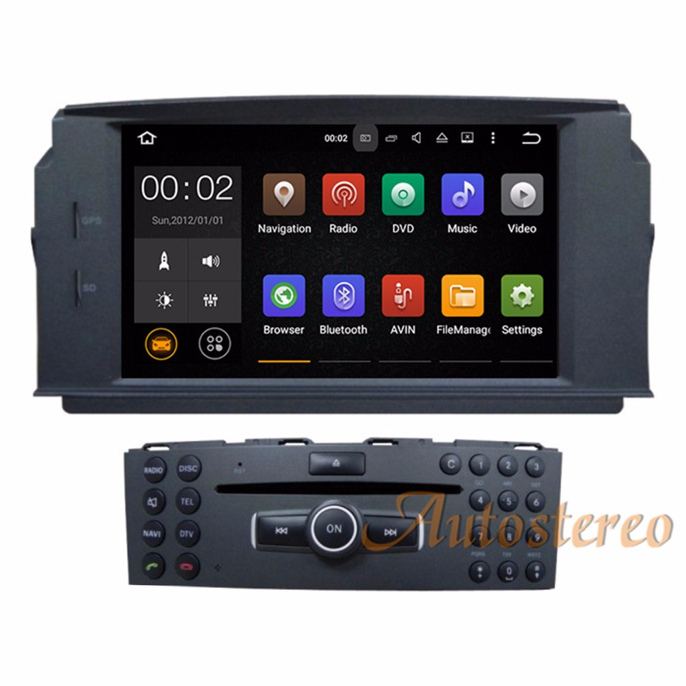 цена The Newest Android7.1 Car DVD Player GPS Navigation Stereo Radio Unit For MERCEDES BENZ C Class C200 C180 W204 auto multimedia