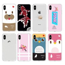 cartoon Pink Leopard line fish fist TPU Phone Case For iPhone 6 6S Plus 7 7Plus 8Plus iPhone X 5s 4s C281(China)