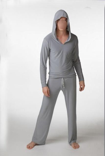 New Arrival Black Gray Brown White Fashion Men Casual Cotton Sleep Tops Full Sleeve Sleepwear Hooded Sleep Tops M L