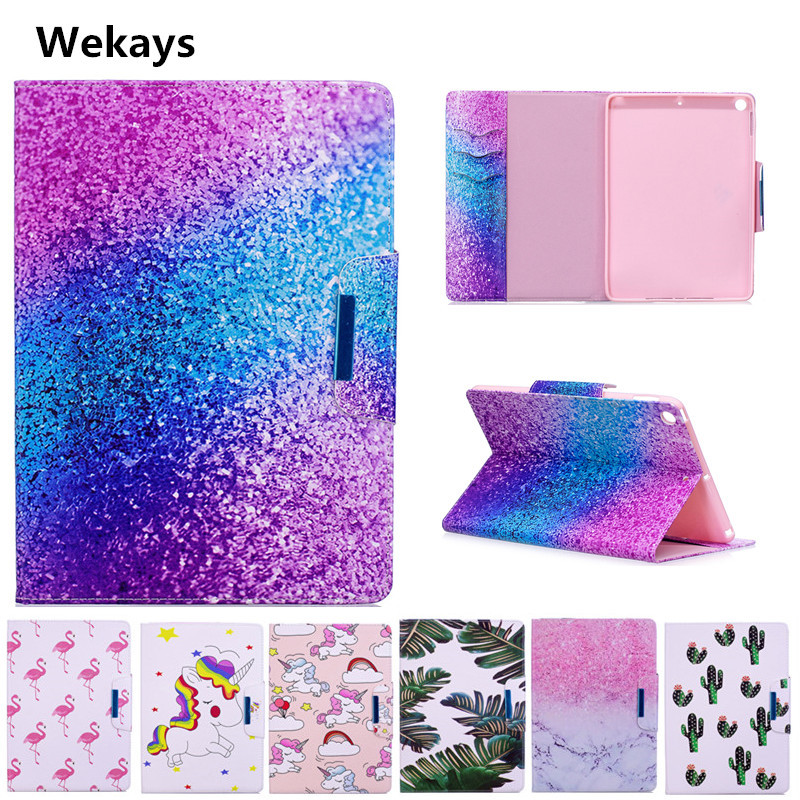 Wekays Case for Apple IPad 9.7 inch 2017, Cute Cartoon Flamingo Unicorn PU Flip Leather Cover Case For New iPad 2017 9.7'' model nice soft silicone back magnetic smart pu leather case for apple 2017 ipad air 1 cover new slim thin flip tpu protective case