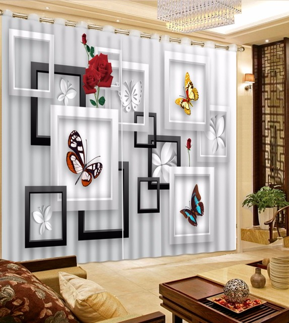 Atmosphere Square Erfly Blackout Sheer Curtan Modern Fashion Gray Window Curtain For The Living Room