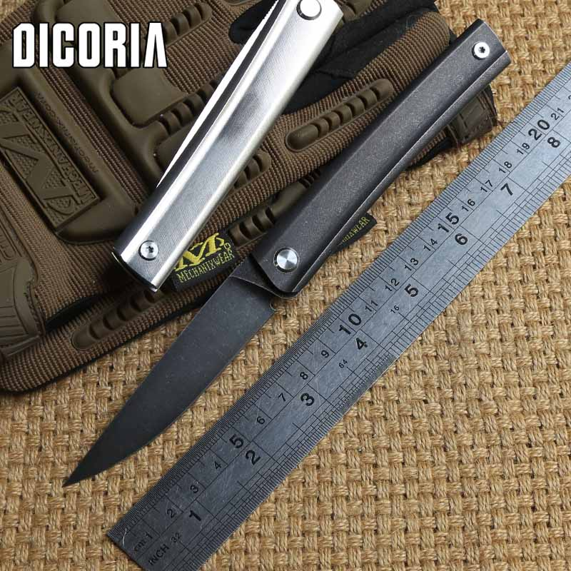 DICORIA Perfect Lines D2 Blade Titanium Handle Flipper Folding Knife Camping Hunting Outdoor Survival Pocket Knives
