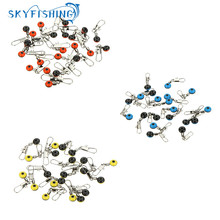 Hot Sale 20Pcs Space Beans Fishing Connector Float Connector Rolling Swivel Fishing Supplies with Box Carry Fishing Tackle Tool