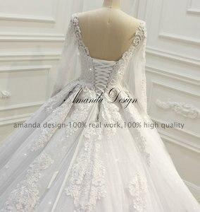 Image 5 - Abiti דה sposa יוקרה ארוך שרוול תחרה Appliqued נמוך חזרה מבריק חתונה שמלה