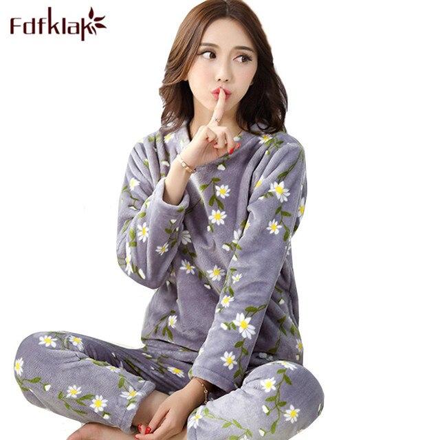 Fdfklak Large size flannel pajamas for women warm autumn winter pajama set cute cartoon sleepwear pijama new pyjama femme M 2XL