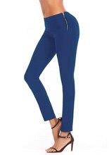 d8fd35dbf24 Боковая молния джинсы Для женщин Мода девушка Высокая Талия тощий карандаш  Синий джинсовые штаны осень молния