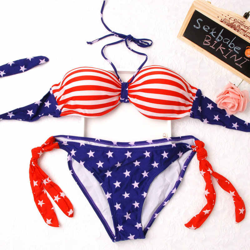 2018 New  USA / UK Flag Push Up Steel Bikini Women Bikinis Beach Swimwear Swimsuit Hot American/English Flag Bikini Biquini