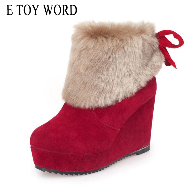 E TOY WORD Hot Sale Women Wedges Heels snow boots winter women shoes Slip-On Platform Boots female warm flock ankle boots e toy word summer platform wedges women sandals antiskid high heels shoes string beads open toe female slippers