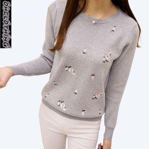 Image 4 - OHCLOTHING 2019 Herbst Pullover Frauen Stickerei Gestrickte Winter Frauen Pullover Und Pullover Weibliche Trikot Jersey Jumper Pull Femme