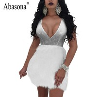 Abasona Sequin Dress Summer Women Black White Feather Embellished Mini Dress Evening Party V Neck Sexy