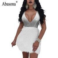 Abasonaスパンコールドレス夏の女性ブラックホワイトフェザー修飾語ミニドレスイブニングパーティーvネックセクシーなボールガウン女