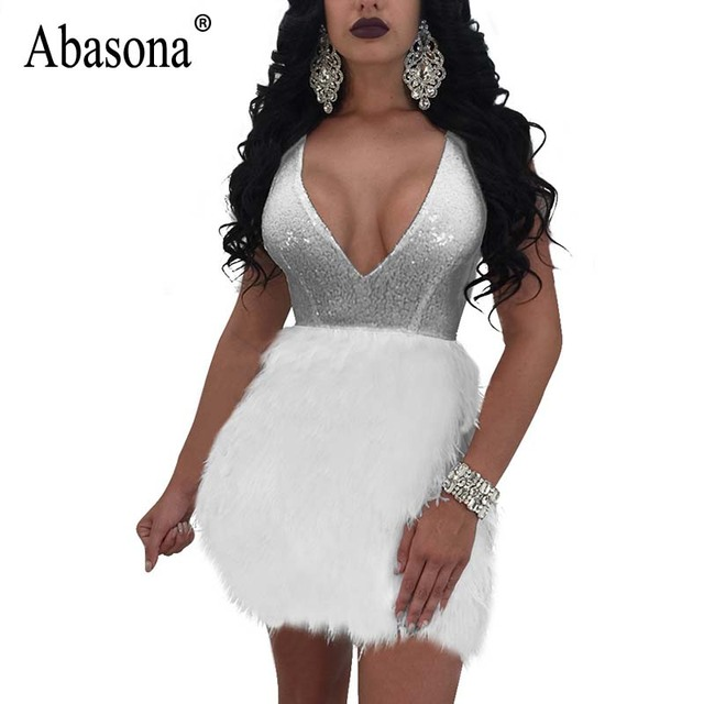 f12e28ae96 US $19.76 10% OFF|Abasona Sequin Dress Summer Women Black White Feather  Embellished Mini Dress Evening Party v Neck Sexy Ball Gown Women Dresses-in  ...