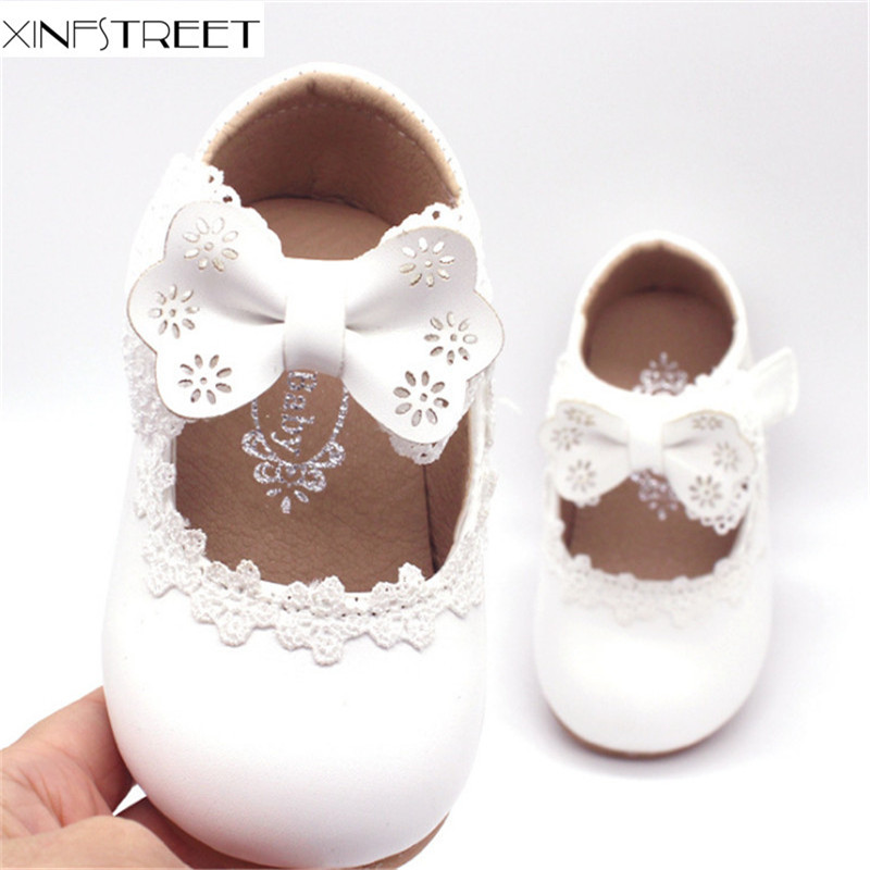 Brand Baby Girls Shoes Leather Solid Infant Kids Shoes Lace Bowknot Princess Children Shoes For Toddler Girls