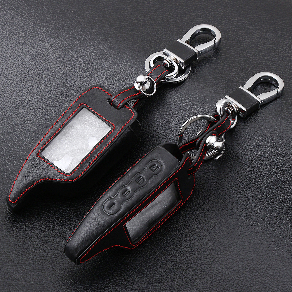 Image 1 - AndyGo Leather Alarm Remote Keychain Case for Scher Khan For Scher khan Magicar 5 6 M5 M6 Cover Holder-in Key Case for Car from Automobiles & Motorcycles