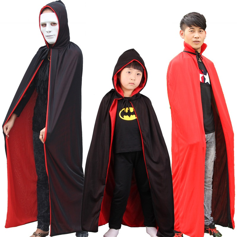 Halloween Long Hooded Cloak Witches Collar Black and Red  Double Cloak Cosplay Vampire Cape Can Wear on Both Sides for Adult Kid
