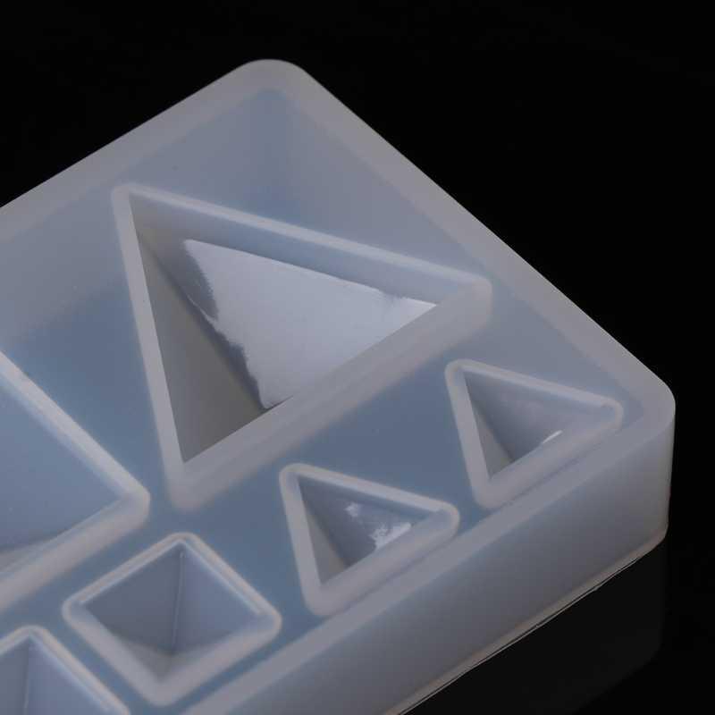 Resina líquida molde de silicone diy triângulo geométrico espelho artesanato resina epóxi para fazer jóias colar pingente decorativo bolo