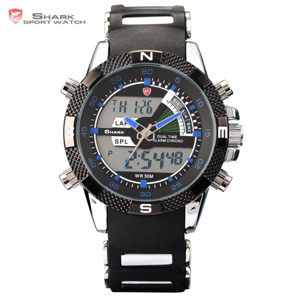 SHARK LCD Dual Time Display Date Alarm Back light Silicone Strap Analog Men Military Quartz Relogio Sports Wristwatch / SH044 weide men running sports quartz watch black strap dual date day back light analog digital alarm clock military watches