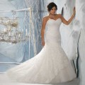 Top Online Mermaid Sweetheart Sleeveless Strapless Lace Plus Size Wedding Dress 2013