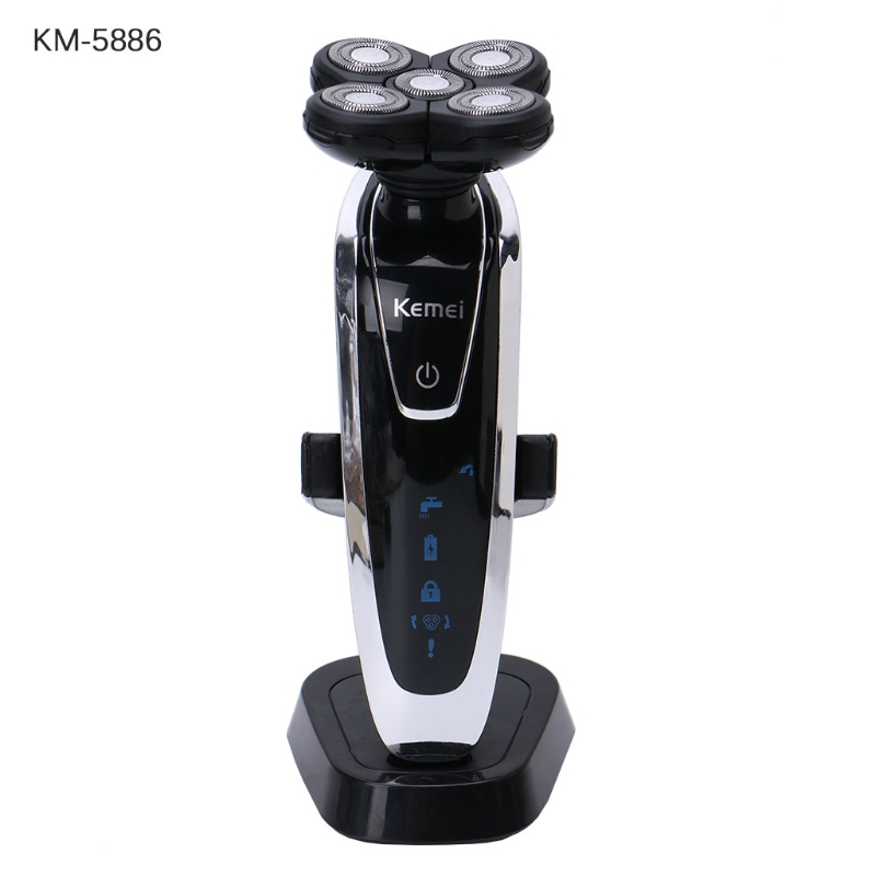 New 1Set Kemei KM-5886 5D Floating Heads Washable Electric Shavers Travel Use for Man EU Plug new brand kemei km a588 electric shavers razor blades travel use safety professional shaver for man maquina de afeitar electrica