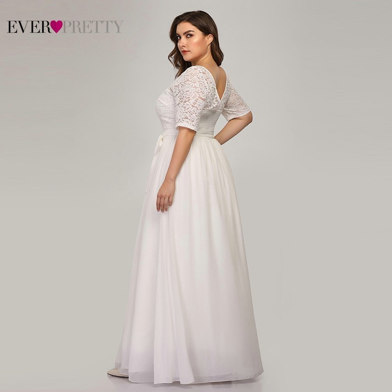 5944cce037 🛒 Plus Size Lace Wedding Dresses 2019 Ever Pretty EZ07624WH A Line ...