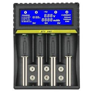 BTY-V407 зарядное устройство Li-Ion Li-fe Ni-MH Ni-CD умное быстрое зарядное устройство для 18650 26650 6F22 9V AA AAA 16340 14500