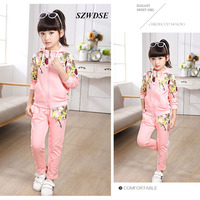 2 Pcs/set Children's Thicker Autumn Winter Sports Sweatshirts Floral Hoodies+long Pants Girls' Clothing Sets for 5-13 years