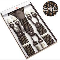120cm Long 3 5cm Width Large Size Wide Suspenders Men Suspenders Genuine Leather 6 Clips Classic