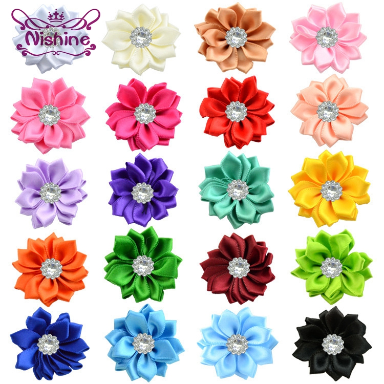 """Nishine 10pcs/lot 1.6"""" Satin Ribbon Multilayers Fabric Flowers With Acrylic Button For Headbands Hairpins DIY Hair Accessories"""