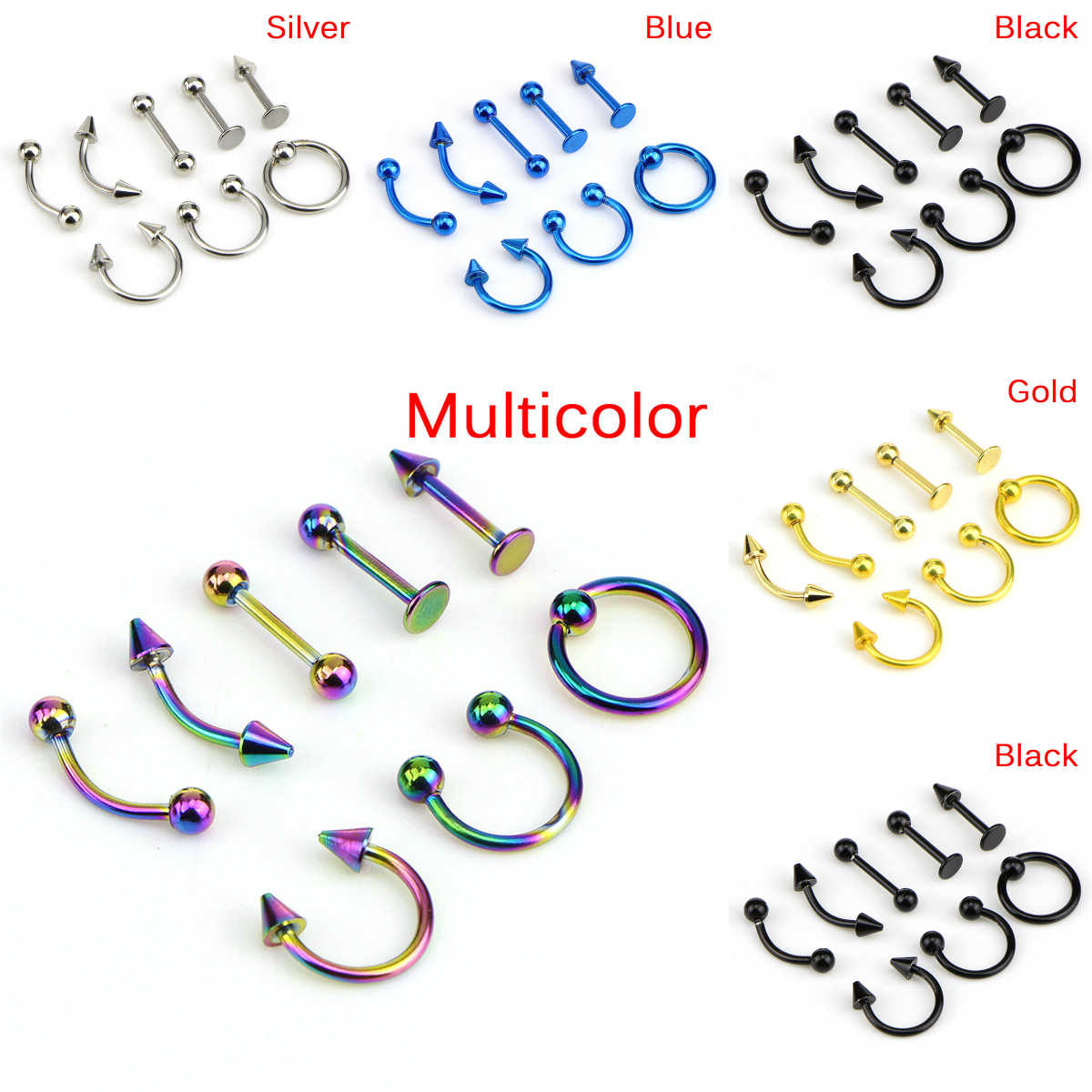 8pcs/lot Stainless Steel  Fashion 16G Titanium Anodized Body Jewelry Helix Piercing Ear Eyebrow Nose Lip Captive Rings