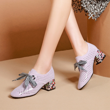 Women Pumps Cow Leather Rhinestone Square Heel High Heels Lady Shoes Cutout Sweet Bow Girl Platform Platform Pumps Size 34-42 цены онлайн