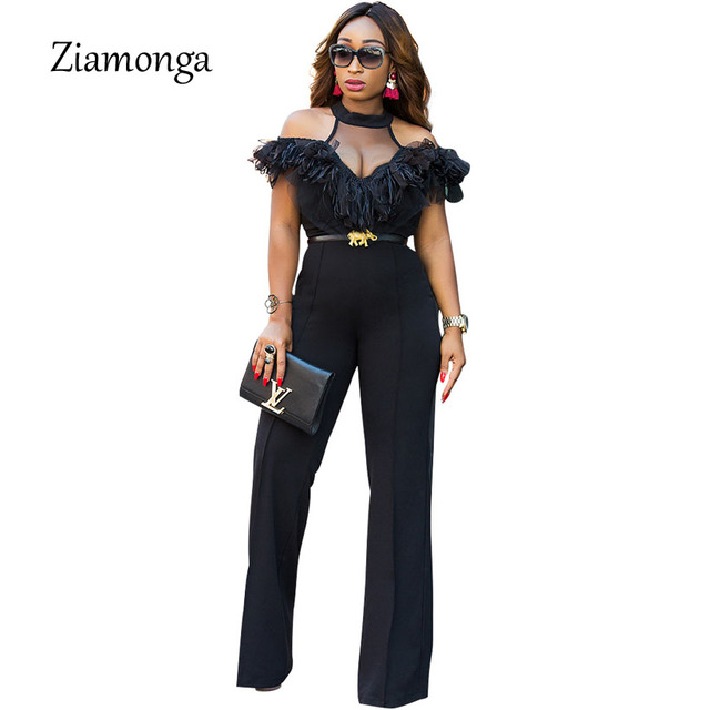 3062a4df1000 Ziamonga 2018 New Women Jumpsuit Off Shoulder Elegant Jumpsuits Women Plus  Size Rompers Womens Jumpsuit Ruffles Female Overalls