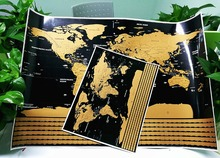 Big Size Gold Scratch off World Map, Perfect for Travelers Map With Country Flag Wall Sticker Living Room Home Decor