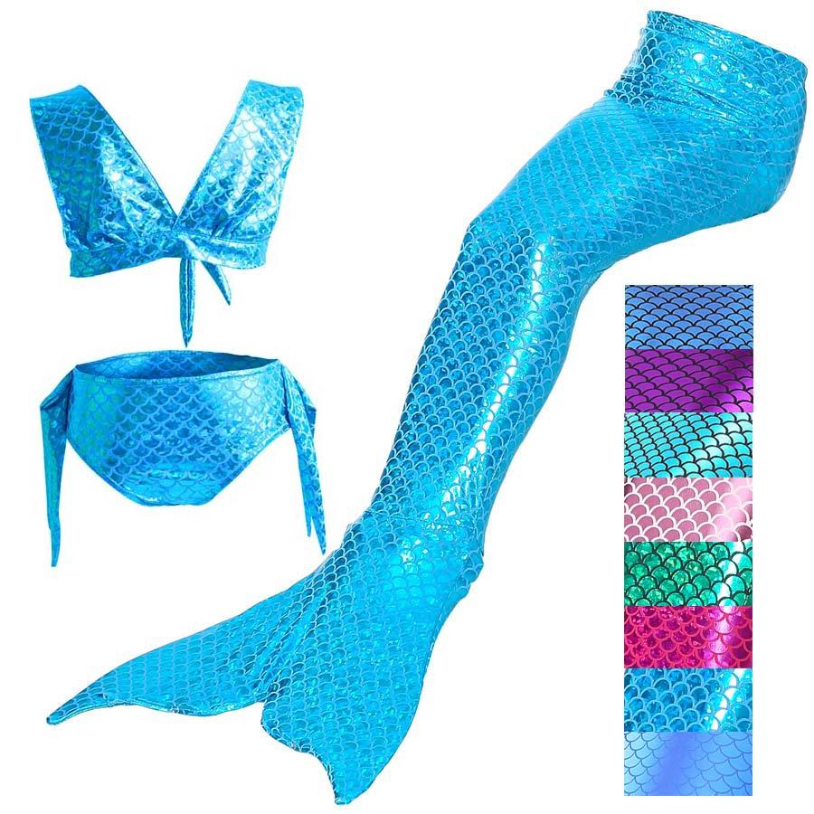 3PCS/Set  Kids Girls Swimwear Mermaid Tail Costume For Swimming Bikini Swimsuit Costume Children Mermaid Tail Kids 8 Colors