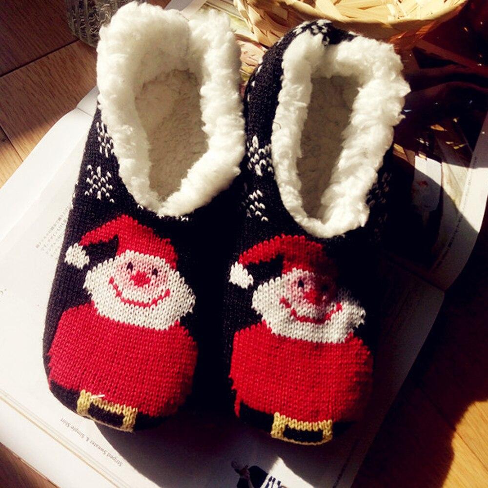 Christmas Home Slippers Plush Warm Winter Shoes Fur slippers Floor Home Furnishing Santa Claus Christmas Socks Woolen