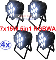4xLot Free Shipping 7x15W RGBAW 5IN1 Mini LED Par DMX Light 7x 15-watt High Power 5-in-1 RGBWA Par LED DJ Disco DMX Stage Lights