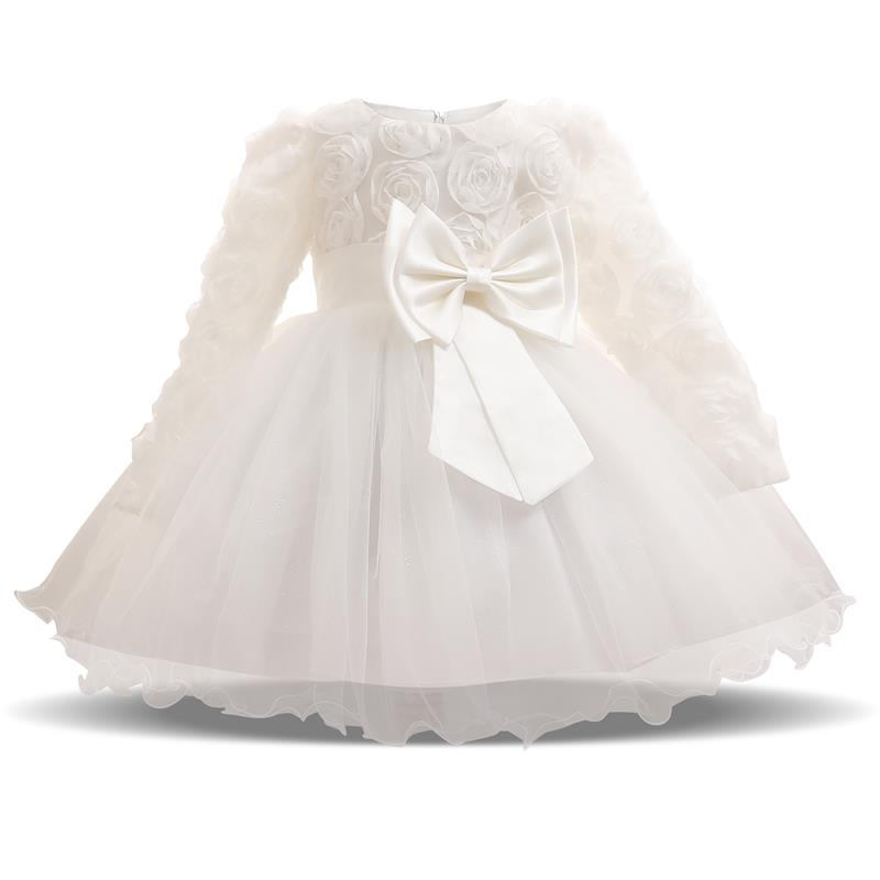 Romping House Newborn Baby Girls Christening Gown Baptism Dress with Floral Lace Poncho Bonnet