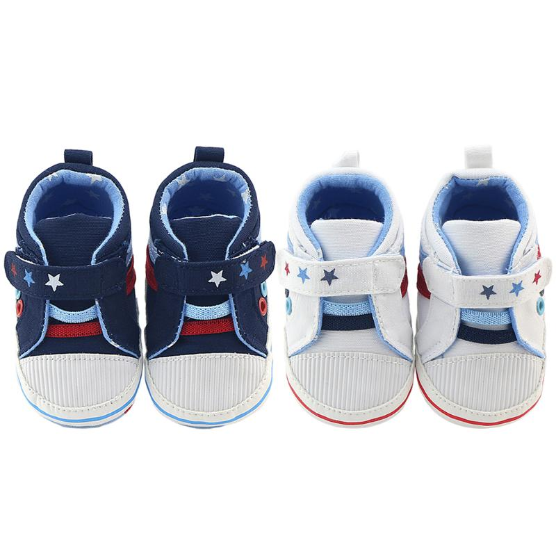 Baby Stars Pattern Soft Bottom Cute Toddler Sports Shoes Prewalkers First Walkers Soft Bottom Baby Boys Girls Shoes