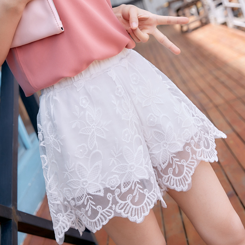 New Women Shorts Black White Hollow Lace Crochet Flower Casual Girls Sexy Short Ladies High Waist Tiered Women's Clothing