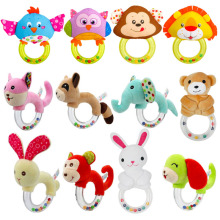 Baby Toys 0-12 Months Animal Shape Rattle Hand Bells Cute Pig Horse Elephant Monkey Early Education for Newborns