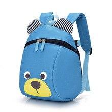 Fashion Children Backpack Anti-lost Canvas Bag Cartoon Animal Bear Pattern Kindergarten Kids Baby School Bags PO66