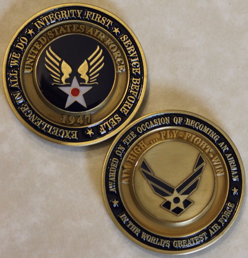 Air Force Airman Award Aim High Fly Fight Win Military Challenge Coin 50pcs lot Free