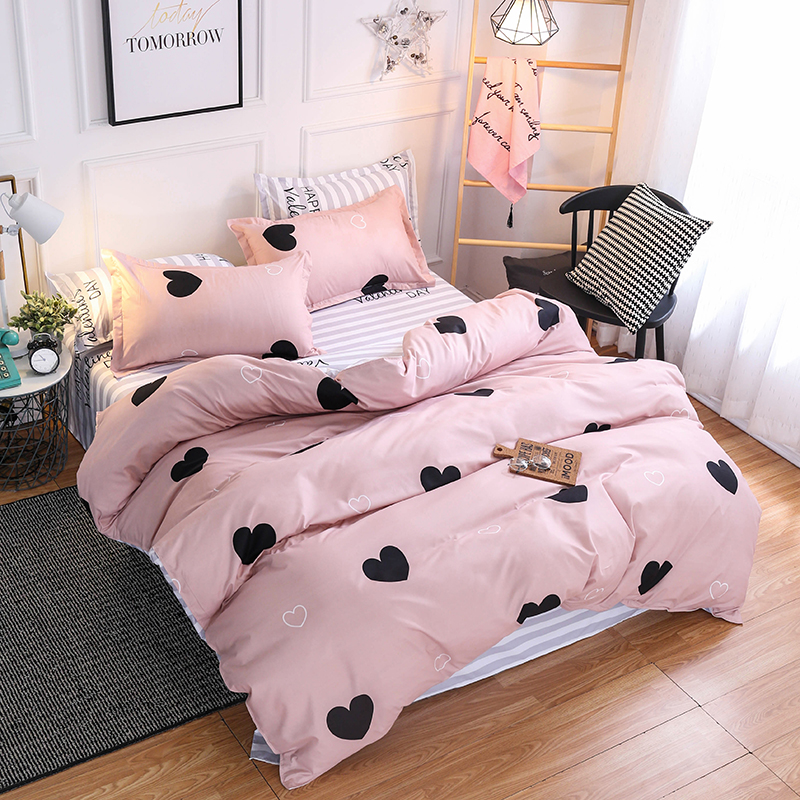 Bedding Sets Lovely Bedding Grey Bed Sheet Cotton King Size Bedding Set Queen Size Duvet Cover Set Heart Bed Set Pink