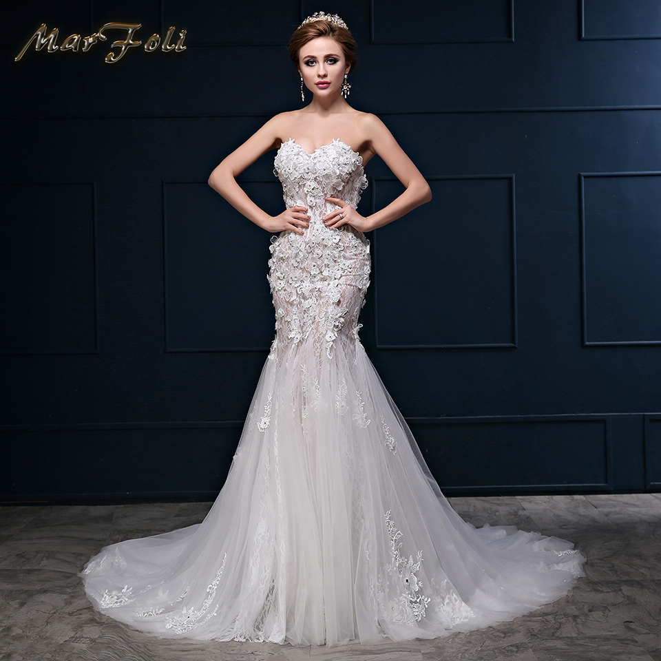 Real Photos Elegant Crystal Beaded Wedding Dresses With Lace Flower Princess mermaid Court Train strapless Wedding Gown WD246