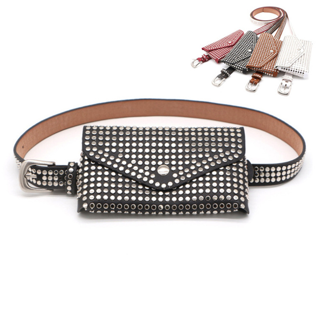 b67330f7fc68 US $9.23 54% OFF|Women's Waist Bag Fashion Ladies Belt Bag Detachable Belt  Rivet Waist Pack Female Handy Fanny Pack Girl Wholesale And Retail Hot-in  ...