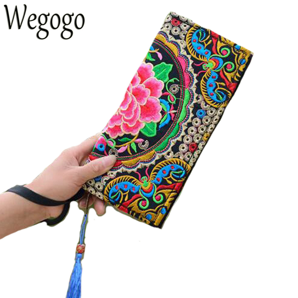 New National Trend Ethnic Embroidery Wallet Double Side Embroidered Flower Coins Purse Bags Women's  Small Handbag Clutch Bag national trend women handmade faced flower embroidered canvas embroidery ethnic bags handbag wml99
